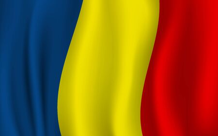 Romania flag, 3D realistic wavy banner. Vector Romanian national flag background. Bucharest Independence Day symbol of blue, yellow and red stripes background