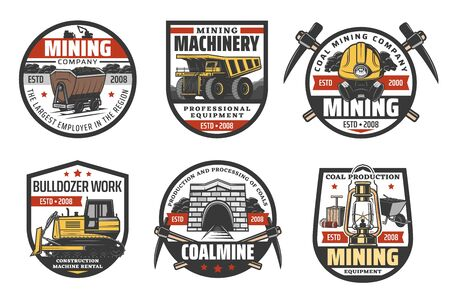 Coal mining industry and miner company vector icons. Mining equipment, bulldozer digger machinery, pickaxe or spade and coal wheelbarrow cart, miner safety helmet, trolley and dynamite Stock Illustratie