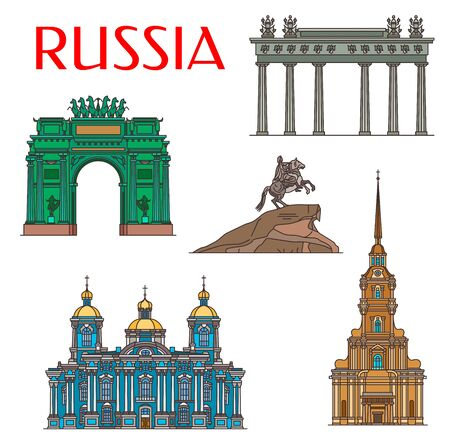 Saint Petersburg travel landmarks, Russia architecture and famous sightseeing symbols. Vector Peter and Paul Cathedral, Narva Triumphal Arch, Moscow Gate and Bronze Horseman monument
