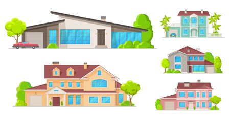 Houses, mansions and residential real estate building icons. Vector family homes, cottage houses or villa, apartments, urban property with terraces and garages