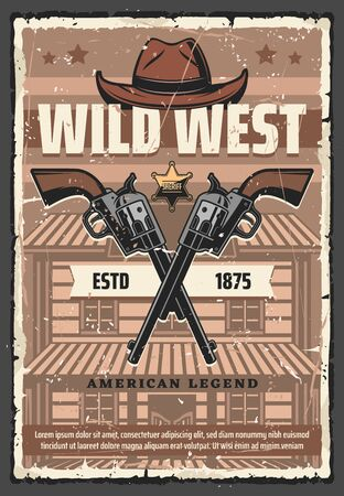 Western vintage retro poster, Wild West cowboy hat, sheriff police star badge and revolver guns. Vector American Western cowboy saloon and bandit or robber crossed pistol shotguns