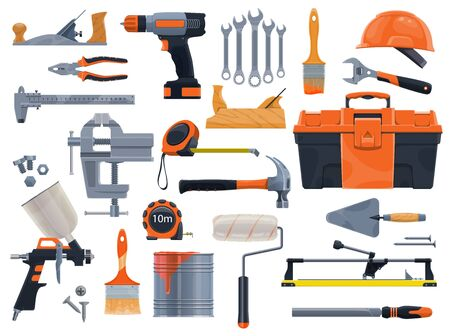 Work tools icons, repair and house renovation instruments. Vector construction and remodeling DIY tools, carpentry plane, spanner wrench, paint sprayer and stucco spatula, rulers, drill and vise Çizim