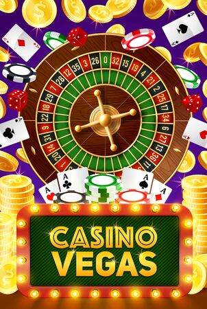 Vegas casino poker gambling game, roulette, jackpot big win and playing cards. Vector poker cards, wheel of fortune, gamble chips and golden coins, game dice in neon sign Illustration
