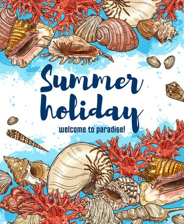 Vector sea travel vacation, sea shells and corals on beach sand, seaside holiday resort or spa. Beach seashells sketch poster, summer holidays and welcome tor paradise