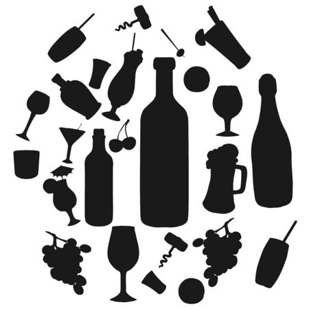 Wine alcohol drinks and cocktails silhouette isolated icons. Vector wine or champagne bottle, beer pint and corkscrew, vodka with fruit liquor and bar beverages in glasses with drinking straw Çizim