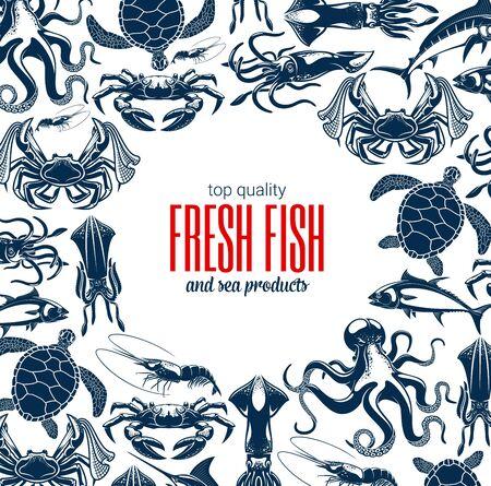 생선 및 해산물 제품 상점 또는 상점 포스터. 벡터 해산물 어업 및 바다 낚시 캐치, 문어, 오징어, 새우 또는 새우, 게, 가재 및 참치, 거북이 및 청새치와 랍스터
