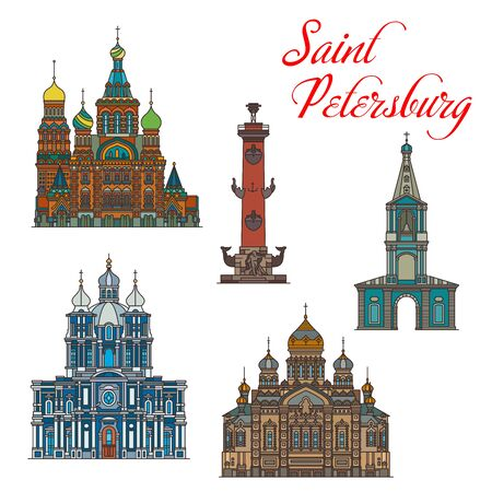 Saint Petersburg architecture, Russia famous landmark buildings icons. Vector Dormition of Holy Mother of God, Saint Sampson and Smolny cathedral, Rostral Column and Savior on Spilled Blood Church