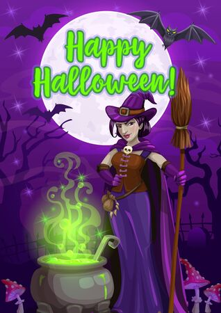 Witch making Halloween potion vector greeting card. Evil sorceress with hat, black magic cauldron and broom, bats, moon, creepy trees and poisonous mushrooms in horror night graveyard
