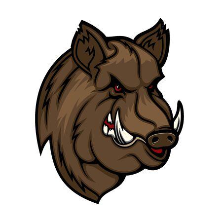 Mascota de jabalí, cerdo o cerdo con cabeza de animal del bosque. Icono de vector de cerdo enojado con sonrisa malvada, colmillos afilados y pelaje marrón. Diseño de símbolo de club de caza y equipo deportivo.