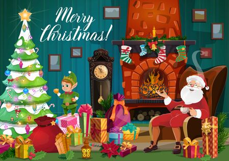 Santa and elf with Christmas tree and gifts near Xmas fireplace vector greeting card. Claus room interior with New Year garland, present boxes and stocking, clock, balls and lights, bell and candle