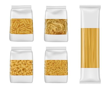 Pasta and Italian macaroni food package 3d vector mockups of foil and plastic bags with windows. Realistic templates of spaghetti, penne and farfalle, tagliatelle and elbow vermicelli packaging 免版税图像 - 131094226