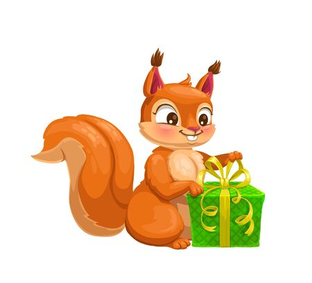 Squirrel with gift box cute cartoon character. Vector woodland animal with red fur, fluffy tail and present, decorated by ribbons and bow. Wildlife mammal or rodent pet mascot design