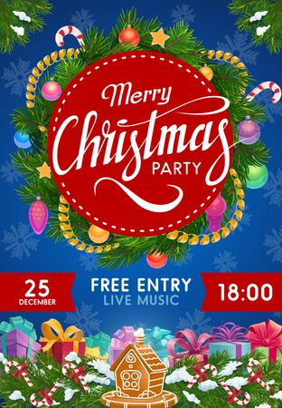 Christmas party invitation vector design with Xmas wreath of gifts and balls. New Year winter holidays presents, ribbon bows and snow, pine tree branches, stars and candy canes, snowflake and tinsel