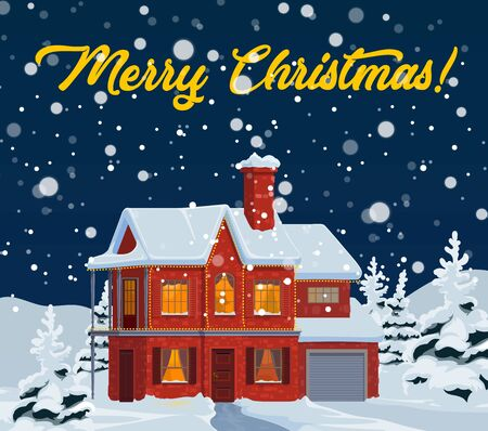 Christmas house with falling snow vector greeting card of New Year winter holidays design. Home facade, windows and door, decorated by Xmas lights with snowy landscape of pine and fir trees 일러스트