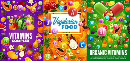 Fruit vitamins and minerals, vegetarian multivitamin complex vector design. Vitamin capsule with tropical mango, exotic durian and orange, banana, pineapple and papaya, watermelon, fig and grapes Ilustração