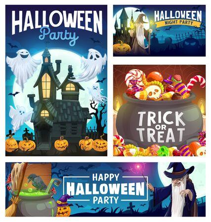 Conception vectorielle de fête d'Halloween avec des fantômes, des citrouilles et des bonbons, des chauves-souris, la lune et la maison hantée, un sorcier maléfique, une baguette magique noire et un chaudron de potion de sorcière. Flyer d'invitation ou carte de voeux