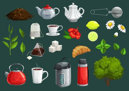 Tea cup, green leaf and teapot vector icons of hot beverage design.Tea bags, lemon and kettle, sugar cubes, mug and croissant, infuser mesh spoon, termopot and mint, hibiscus and chamomile flowers Stok Fotoğraf - 131094254