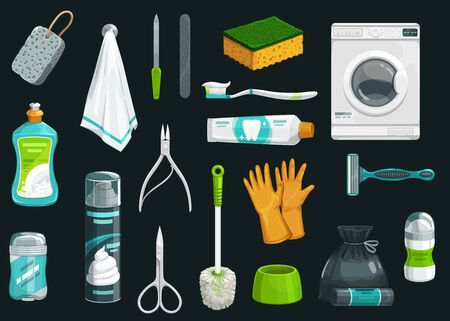 Hygiene product vector icons. Toothpaste, toothbrush and deodorant, towel, shaving foam and shaver, gloves, toilet brush and sponge, dishwashing liquid, garbage bag, washing machine and manicure items Ilustrace