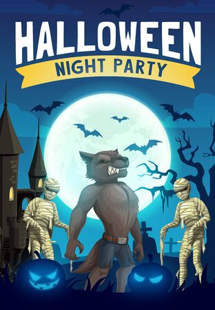 Halloween night party vector design with horror monsters. Spooky graveyard and haunted house with scary pumpkins, bats and moon, mummies, werewolf and cemetery gravestone, creepy lanterns and tree