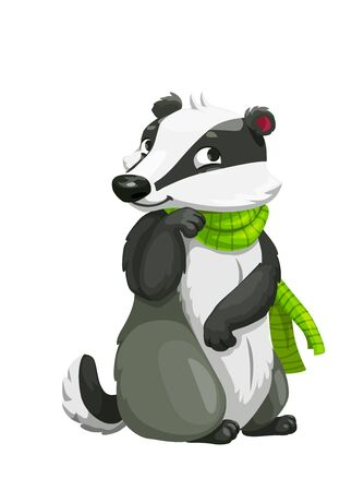 Badger cartoon forest animal with green scarf vector design. Woodland carnivore character with white and black fur, zoo or woodland wildlife cute mascot Ilustracja
