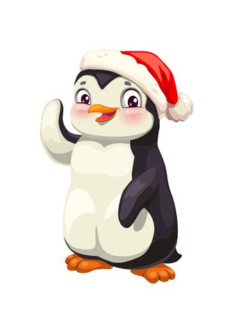 Penguin cute cartoon animal in winter red hat vector design. Snowy Antarctic bird with black and white face smiling and waving. Polar penguin character, zoo mascot, children postcard Foto de archivo - 131094255