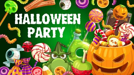 Halloween party pumpkin and trick or treat sweets vector design. Chocolate, skeleton skull and zombie eyeball shaped candies, lollipops, jellies and gummy worms, witch potion, black magic spellbook Illustration