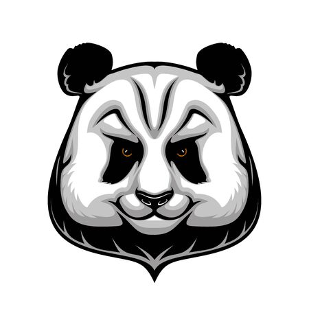 Panda bear vector mascot of wild animal head with black patches around eyes and over ears. Giant panda, Chinese herbivorous mammal isolated icon of Asian wildlife and zoo themes