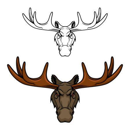 Moose animal vector icon with head of elk stag or bull, hunting club or sport team mascot design. Wild forest wapiti with deer antlers and brown fur, hoofed and horned mammal of Canada, North America Çizim