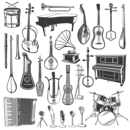 Musical instrument, microphone and gramophone sketches of ethnic and classical music. Vector piano, drums and guitar, trumpet, bass and mandolin, flute, shamisen and vihuela, tanbur, tar and citra Ilustracja