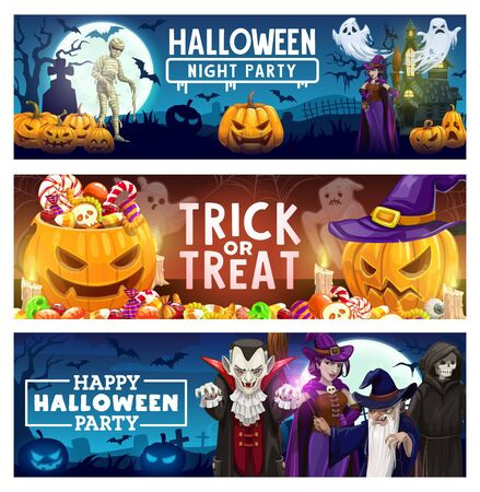 Halloween trick or treat candy, horror pumpkin and creepy monster vector banners. Scary ghosts, bats and witch, spider net, vampire and haunted house with graveyard, skeleton skull, zombie and wizard