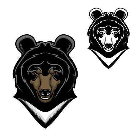 Oso de dibujos animados de vector de cabeza de animal de diseño de mascota de oso del Himalaya. Mamífero depredador salvaje con pecho blanco, hocico largo y dientes, fauna del bosque de montaña