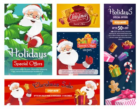 Christmas sale and gifts store discount promotion posters. Vector winter holiday sale banner, Santa with Xmas tree and presents bag, gingerbread cookie and candy cane