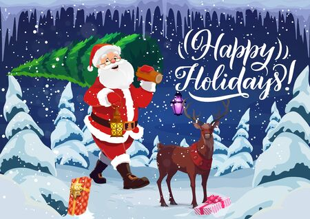 Happy holiday wish, Christmas and New Year, Santa Claus and deer. Vector fir and spruce, winter forest and gift boxes, lantern and icicles. Celebration and congratulation, Noel or Xmas eve, night