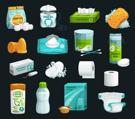 Icone dei prodotti per l'igiene della cura personale. Shampoo vettoriale, sapone e spugna, batuffoli di cotone idrofilo, assorbenti e tamponi, salviettine umidificate, tovagliolo di carta e carta igienica, tampone, acqua micellare, detersivo e pannolino Vettoriali