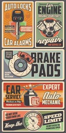 Car service spare parts banners with vector auto engine, vehicle brake pads and motor oil, alarm key, piston, cylinder and speedometer. Mechanic garage and technician station retro design