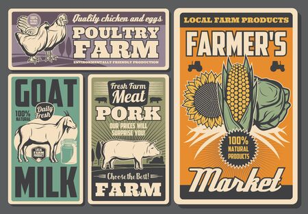 Farm animals and vegetables retro posters of agriculture, milk, poultry and crop farming vector design. Pig, cow and rooster, chicken, goat and tractor, field, cabbage, corn and sunflower
