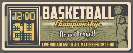 Ballon de sport de basket-ball, joueur en uniforme et conception vectorielle de tableau de bord de cour. Affiche rétro de match de championnat de basket-ball, thèmes de compétition sportive