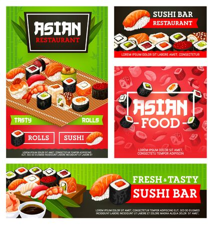 Japanese sushi rolls vector menu of Asian restaurant. Sushi bar rolls with rice, salmon fish and tuna, seafood nigiri with shrimp, seaweed and prawn, caviar gunkan, octopus uramaki and chopsticks Иллюстрация