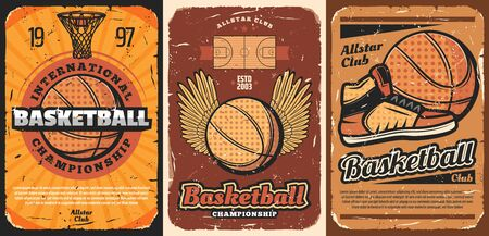 Basketball sport vector design of halftone orange balls, court, basket and hoop, team player sneakers and wings. Championship cup match or sporting club promo posters