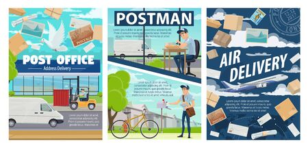 Post office, mail delivery and postman vector design of postal service. Cartoon courier and mailman with letter envelopes, parcels, boxes and packages, postage stamp, truck and bicycle, airplane, dove