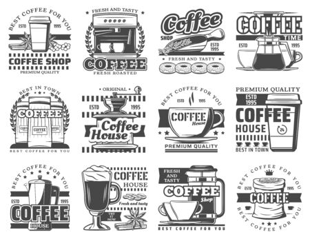 Coffee vector symbols with cups of hot drink and espresso machine, coffee beans, grinder and pot, cappuccino mug and latte takeaway paper cup, donuts, french press and scoop. Coffee shop, cafe design