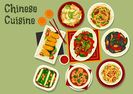 Chinese New Year dishes of Asian cuisine. Vector stir fried beef and noodles with chilli and oyster sauce, spicy shrimps, cashew chicken and cucumber salad with peanut, mussels, beans, milk dessert Vectores