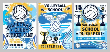 Volleyball sport game championship cup vector posters with player balls, winner trophies and whistles, court net, wings and crown. Sporting competition match, sport school and club design