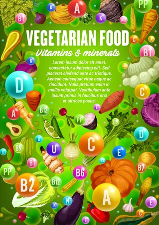 Vitamins and minerals in vegetables, herbs and beans, vegetarian food health benefits vector design. Pepper, cabbage and broccoli, onion, garlic and radish, celery, pumpkin, corn, chilli and eggplant