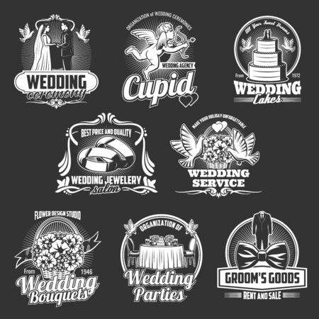 Wedding, marriage and engagement ceremony badges with vector groom, bride and rings, cake, bridal dress and flower bouquet, Cupid, love arrows and doves. Wedding salon and party service emblems design