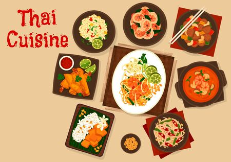 Thai cuisine vector design of Asian meal. Fried rice, seafood noodles and shrimp spring rolls, tom yum soup, chicken with nuts and ginger prawns, papaya fruit and squid vegetable salads, mango rice