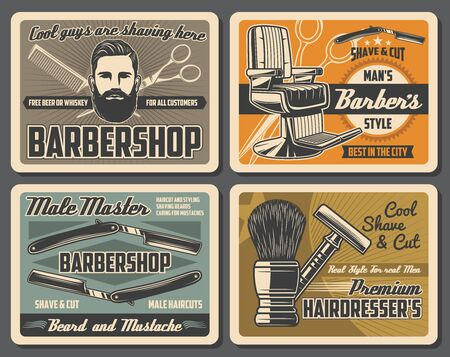 Barbershop retro posters with vector barber shop tools and equipments of hair cut, beard and mustache shave. Barber straight razors, chair and scissors, comb, shaving brush and head of bearded man