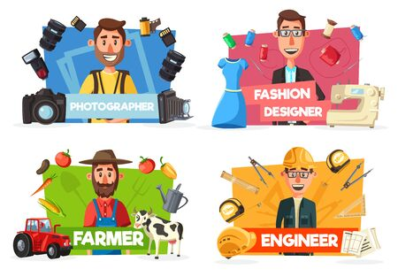 Professions of engineer, farmer, photographer and fashion designer vector icons. Professional workers of construction, agriculture, fashion and photography industry with work tools, occupations design
