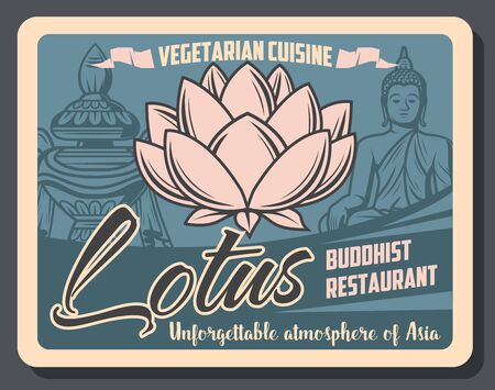 Buddhist restaurant of vegetarian cuisine retro poster with vector symbols of Buddhism religion. Buddha statue, sacred lotus flower and treasure vase, Asian and oriental religion themes