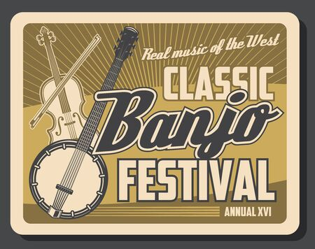 Musical instruments of classic and folk music retro poster with vector banjo, violin and bow. Music festival, live concert or ethnic show design Ilustracja